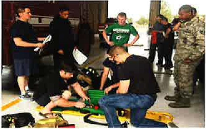 EMT-Basic students work with Holloman Air Force Base Firehouse One. Twelve  veterans  completed the EMT-Basic course in spring 2017. The partnership also allowed EMT's in need of CEUs to work with the students in exchange for credits.