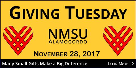 Giving Tuesday - NMSU Alamogordo - November 28, 2017. Many small gifts make a big difference. Click to learn more.